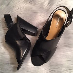 Nine West Black Leather High Heels Shoes Sandals